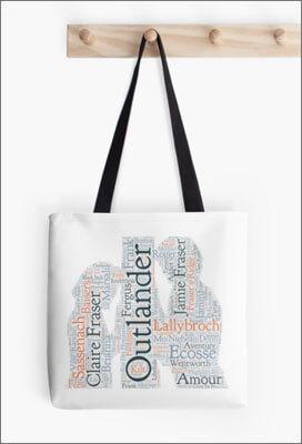 Sac Outlander, Tote bag, avec motif Claire et Jamie Fraser